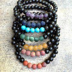 Ebony and Matte Gemstone Men's Chakra Bracelet Chakra Necklace, Chakra Jewelry, Second Chakra, Chakra Colors, Red Jasper, Heart Chakra, Unisex Fashion, Plexus Products, Fashion Bracelets