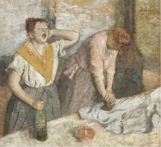Women Ironing, Oil by Edgar Degas France). Women Ironing is Oil on canvas painting by the French artist Edgar Degas. It is painted in This portraits two women ironing. The painting is now in the collection of The Musée d'Orsay, Paris, France. Edgar Degas, Renoir, Jasper Johns, Painting Frames, Painting Prints, Art Prints, Claude Monet, Degas Paintings, Degas Drawings