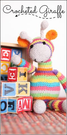 crocheted giraffe striped and colorful - love this cute pattern! - - Sugar Bee Crafts