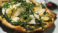 Flatbread with Arugula, Asparagus, and Fried Eggs    Recipe and Photo Courtesy of Bon Appetit  B American Brasserie in Baltimore, Maryland, offers everything from juicy steaks to local seafood, but our money's on the brick-oven pizzas (or flatbreads, as they're called at the restaurant). Savor the arugula, asparagus, and fried egg version while taking in the scene at the restaurant's downstairs bar. Ingredients  1 cup (packed) fresh spinach (about 2 ounces)  1 cup (packed) arugula leaves…