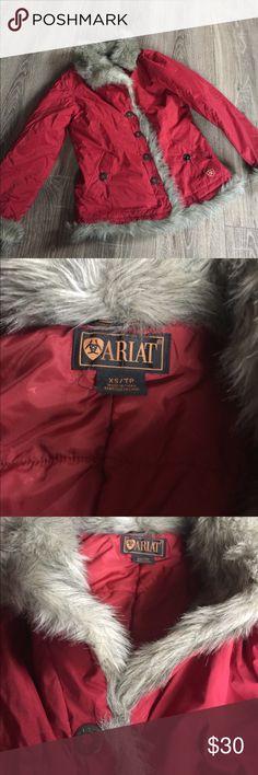 ARIAT Fur Trimmed Coat Jacket XS ARIAT Coat. Exc condition. Sz XS Ariat Jackets & Coats Puffers
