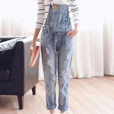 TC Womens Jumpsuit Denim Overalls Spring Autumn Casual Ripped Hole Loose Pants Ripped Pockets Jeans Coverall XL 2XL WT00194 www.maycloth.com