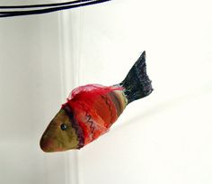 Quilted textile fish ornament  red by BozenaWojtaszek on Etsy, $30.00