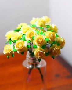 30 mini cream roses mulberry paper flower, for DIY art & crafts  | eBay