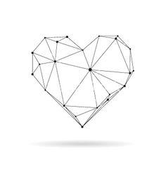 Geometric heart design silhouette vector Más