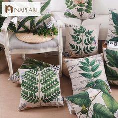 Barato Planta de folhas verde maciços travesseiro fluido flores e almofadas…