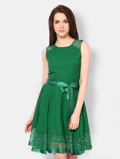 Buy The Vanca Green Fit & Flare Dress - - Apparel for Women Fit Flare Dress, Skater Dress, Dress Outfits, Formal Dresses, Fitness, Green, Stuff To Buy, Style, Fashion