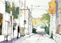 Montreal street watercolour sketch, 14 x 10 in., by Michael Solovyev