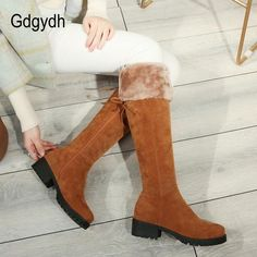 2c42b3ad548 2018 New Arrival Winter Women s Warm Knee High Shoes Boots Lace Up Female  Snow Boots Shoes Good Quality Promotion