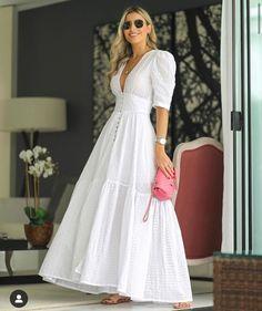 Epliz Deep V-Neck Solid White Fairy Maxi Dress - White Dresses - Ideas of White Dresses White Maxi Dresses, Pretty Dresses, Beautiful Dresses, Dresses With Sleeves, Summer Dresses, White Maxi Dress Casual, Elegant White Dress, White Dress Outfit, White Dress Summer