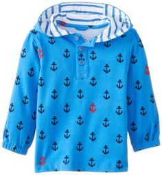 Egg by Susan Lazar Baby-Boys Infant Anchor Print Jersey Long Sleeve Hoodie, Blue, 3-6 Months