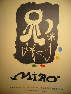 "Joan Miro abstract 1954 , museum quality, copy signed exhibition poster print. 20"" h.x 16"" w. born in 1893 in Barcelona, Spain, died December 25, 1983 in Palma De Mallorca , Balearic Islands. His affi"