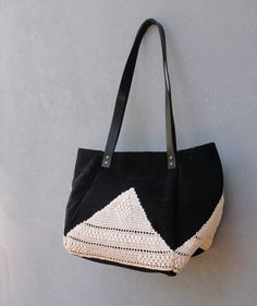 Good Old Times Black Purse - Vintage Doily, Cotton and Leather Bag