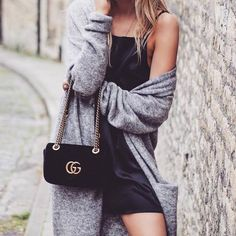 $20 - $200 Cute Casual Sexy Chic LBD Little Black Dress Strappy Cami Suede Mini Dress Oversized Long Light Grey Wool Knitted Cardigan Black Leather Gucci Gold Buckle Small Bag Tumblr