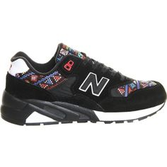NEW BALANCE 580 tapestry suede trainers ($130) ❤ liked on Polyvore featuring shoes, sneakers, black white red, red shoes, new balance shoes, lacing sneakers, red suede sneakers and suede shoes