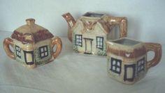 3 pc Cottage Ceramic Tea Set (blue and white):  tea pot, sugar bowl and creamer