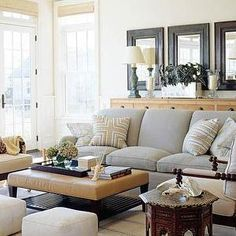living rooms - gray sofa, gray velvet sofa, dove gray sofa, mitered pillows, yellow and gray pillows, yellow and gray mitered pillows, leather ottoman ottoman coffee table, moroccan side table, moroccan accent table, suede ottomans, suede cube ottomans, Mitered Pillow,
