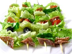 Low Carb Salad on a Stick, Italian-Style. This NEW recipe is such a fun way to serve a salad. So low in carbs and calories and taste like an yummy Italian chopped salad. Great for company or anytime! Each salad stick has 72 calories, 5 grams of fat and 2 Weight Watchers Points Plus. http://www.skinnykitchen.com/recipes/low-carb-salad-on-a-stick-italian-style/