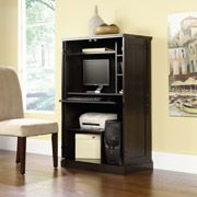 Allows you to use vertical space, takes up less than 3ft in width. Doors close for a clean look. $250 @ WalMart Sauder Computer Armoire, Multiple Finishes.