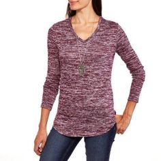 Faded Glory Women's Textured Hi-Lo V-Neck Top, Size: Medium, Red