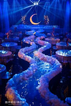 Destination Wedding Venues by PJ. A magical night wedding and reception. Night lights with blue, white elevated runway. A once-in-a-lifetime wedding or special event. Prom Themes, Quinceanera Decorations, Quinceanera Party, Wedding Themes, Formal Party Themes, Themes For Quinceanera, Gala Themes, Wedding Dresses, Quince Themes