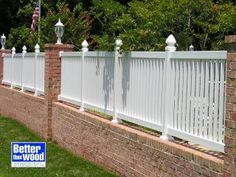 Images of tall white fences | picket fence white vinyl fence on brick wall between columns views 828