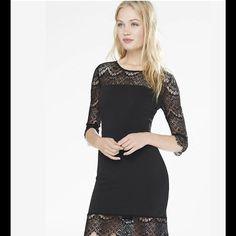 Express Black Lace & Knit Cocktail Dress Xs Size 0