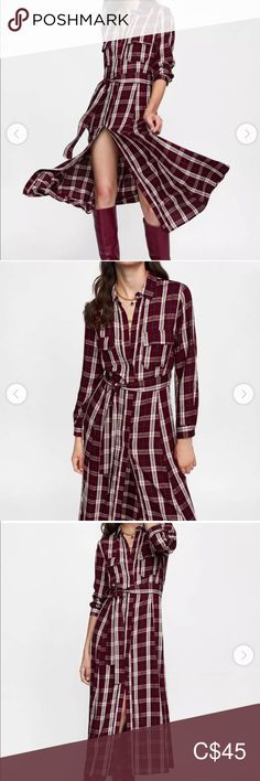 Shop Women's Zara size M Maxi at a discounted price at Poshmark. Description: Zara burgundy checkered dress with belted waist . Brand new. Never worn. Plus Fashion, Fashion Tips, Fashion Trends, Zara Dresses, Burgundy, Brand New, Skirts, Outfits, Shopping