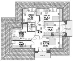 Rzut poddasza projektu Opałek III N Home Design Floor Plans, House Plans, House Ideas, Houses, Exterior, House Design, How To Plan, Home Decor, Trendy Tree
