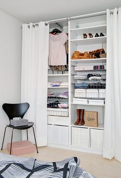 ♥ jmk says:- Curtains work instead of doors especially useful in tight spaces, or until you can afford doors.