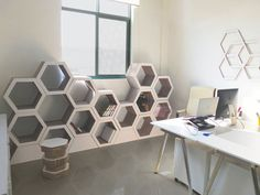 Stackable hexagon recycled cardboard shelves