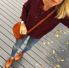 Totally adore this lace up sweater from Liz and Honey. This color is perfect