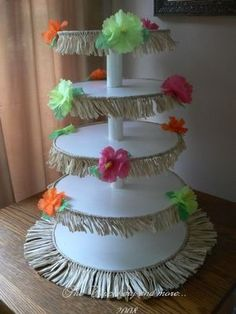 Luau Party Ideas diy flowers hula skirts cake stands tablescape hibiscus