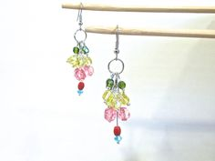 Tuti Fruiti Glass Bead Dangles // Multi Colored Cluster Drops // Gum Drop Earrings // Grapevine Clusters // Ear Candy // Artsy Look Jewelry by Nansglams on Etsy