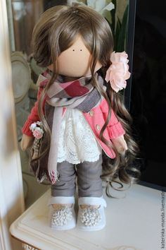 Купить Интерьерная куколка - коричневый, коралловый, трикотаж, хб ткань