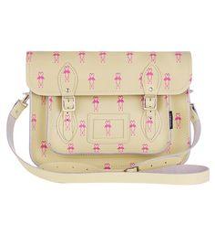 I have a thing for flamingos Domestic Sluttery: Bag Lust: Flamingo Satchel by Zatchels Flamingo Print, Pink Flamingos, Handbag Accessories, Fashion Accessories, Cos Bags, Leather Satchel, Satchel Bag, Purse Styles, Printed Bags