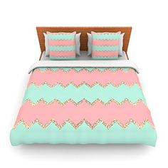 "Kess InHouse Monika Strigel ""Avalon Soft Coral and Mint Chevron"" Orange Green Twin Fleece Duvet Cover, 68 by 88-Inch"