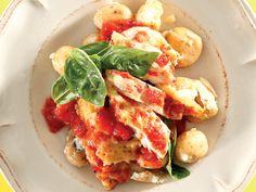Gebakte caprese-hoender Tuna, Kos, Food Inspiration, Yummy Food, Chicken, Meat, Recipes, Delicious Food, Recipies