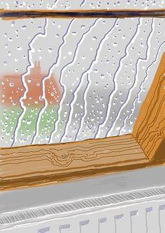 David Hockney: Rain on the Studio Window (2009). Courtesy of David Hockney