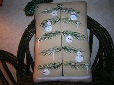 Primitive Hand Painted Folk Art Winter Tree by auntiemeowsprims