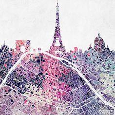 Paris Skyline + Map #1 Art Print