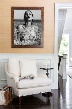 a sexy black-and-white photograph in a posh Hamptons home. Hamptons Decor, Hamptons House, The Hamptons, Glen Eden, Entryway Bench, Lotus, Photograph, Black And White, Sexy