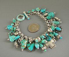 Vintage Zuni Navajo Joan Slifka Cross Heart Turquoise Charm Bracelet Necklace   eBay by milagros