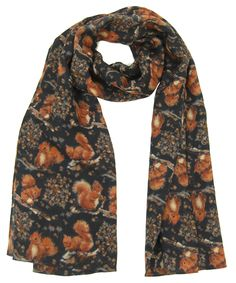 Red Squirrel Scarve Wool 100% Made in Britain