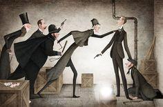 Iban Barrenetxea (The Adventures of Sherlock Holmes by Arthur Conan Doyle) Ink Illustrations, Children's Book Illustration, Sherlock Holmes Elementary, Literary Characters, Devian Art, Art Costume, Old Movies, Illustrators, Character Design