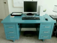 Vintage Wood Tanker Desk paint makeover to teal and silver DIY home office silver drawer handles mod Moroccan decor