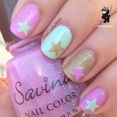 Purple, Baby Blue, and Gold Sparkle Star Nails
