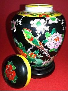 1920's Antique Porcelain Ginger Jar Complete Japanese Ginger Urn  Complete Set