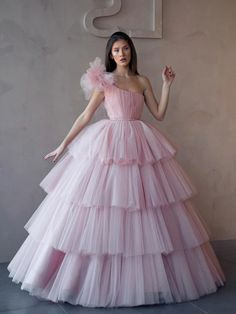 pink party dress one shoulder evening dress strapless prom dress ball gown formal dress tulle evening dress Off Shoulder Evening Dress, One Shoulder Prom Dress, Evening Dresses With Sleeves, Evening Gowns, Off Shoulder Ball Gown, Long Prom Gowns, Ball Gowns Prom, Ball Dresses, Pink Ball Gowns