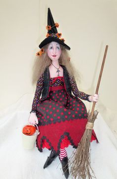 witch doll OOAK cloth art  When shall we three by Tattermedallion, £54.99